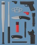 Insieme dell'arma della via e dell'autodifesa Fotografia Stock