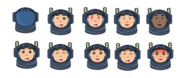 Insieme dell'astronauta delle emozioni in uno stile piano Immagini Stock