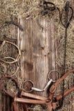 Insieme dell'attrezzatura d'annata del cavallo su fondo di legno Fotografia Stock Libera da Diritti