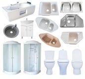 Insieme dell'attrezzatura del bagno, isolato Fotografia Stock Libera da Diritti