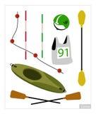 Insieme dell'attrezzatura del kajak o della canoa su fondo bianco Immagini Stock Libere da Diritti