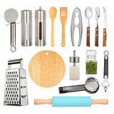 Insieme dell'attrezzatura della cucina Immagine Stock Libera da Diritti