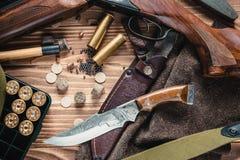 Insieme dell'attrezzatura di caccia Fotografie Stock Libere da Diritti
