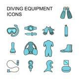 Insieme dell'attrezzatura di immersione con bombole Fotografia Stock