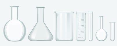 Insieme dell'attrezzatura di scienza chimica Illustrazione di vetro di vettore dell'attrezzatura del laboratorio illustrazione di stock