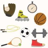 Insieme dell'attrezzatura di sport nella progettazione semplice Fotografia Stock Libera da Diritti
