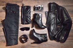 Insieme dell'attrezzatura nera totale Fotografia Stock
