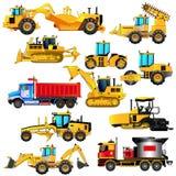 Insieme dell'attrezzatura per l'edilizia dalla strada Icone di vettore, isolate illustrazione di stock