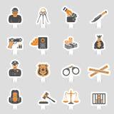 Insieme dell'autoadesivo delle icone di punizione e di crimine Immagine Stock Libera da Diritti