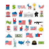 Insieme dell'autoadesivo di U.S.A. Segno nazionale dell'America Bandiera americana e Sta Immagine Stock Libera da Diritti