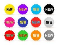 Insieme dell'autoadesivo variopinto dell'etichetta di notizie Nuovo distintivo o autoadesivo, vendita al dettaglio del prodotto P Immagine Stock Libera da Diritti