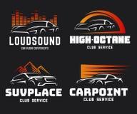 Insieme dell'automobile sportiva moderna e logo ed emblemi di SUV Fotografia Stock Libera da Diritti