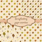 Insieme dell'autunno disegnato a mano senza cuciture Fotografia Stock