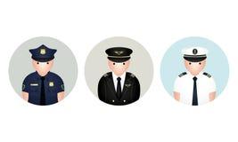 Insieme dell'avatar del poliziotto, di Capetian e del marinaio Illustrazione di vettore fotografia stock