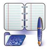 Insieme dell'azzurro del dispositivo di piegatura della penna del pianificatore Immagine Stock