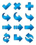 Insieme dell'azzurro dell'icona della freccia Fotografie Stock Libere da Diritti