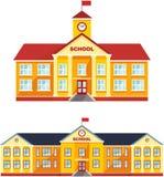 Insieme dell'edificio scolastico classico isolato su fondo bianco Illustrazione di vettore Fotografia Stock