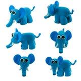 Insieme dell'elefante blu fatto da plasticine Immagini Stock Libere da Diritti