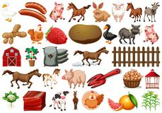 Insieme dell'elemento dell'azienda agricola illustrazione vettoriale