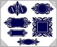 Insieme dell'elemento di disegno Emblema dell'annata Modello decorativo della struttura Taglio del laser del monogramma di nozze Fotografia Stock Libera da Diritti
