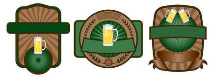 Insieme dell'emblema del contrassegno della birra Immagini Stock Libere da Diritti