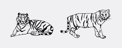 Insieme dell'emblema della tigre Immagini Stock