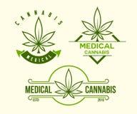 Insieme dell'emblema medico verde della cannabis, logo Stile d'annata classico Fotografia Stock