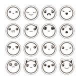 Insieme dell'emoticon adorabile sveglio di kawaii Raccolta dell'autoadesivo Immagini Stock