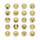 Insieme dell'emoticon adorabile sveglio di kawaii Raccolta dell'autoadesivo Immagini Stock Libere da Diritti
