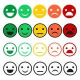 Insieme dell'emoticon Icone dell'emoticon nello stile piano Raccolta dell'emoticon su un fondo bianco Fotografia Stock Libera da Diritti
