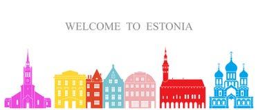 Insieme dell'Estonia Architettura isolata dell'Estonia su fondo bianco royalty illustrazione gratis
