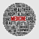 Insieme dell'estratto delle parole sotto forma di sfera sul tema di medicina Fotografia Stock