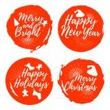 Insieme dell'etichetta di Natale Fonte con la spazzola Distintivi di natale Vettore illustrazione vettoriale