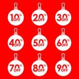 Insieme dell'etichetta di sconto e di vendita Palle di vendita di Natale con 10, 20, 30, 40, 50, 60, 70, 80, un prezzo di 90 per  royalty illustrazione gratis