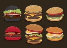Insieme dell'hamburger degli alimenti a rapida preparazione Fotografia Stock Libera da Diritti