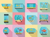 Insieme dell'icona dell'acquario, stile piano royalty illustrazione gratis