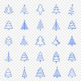 Insieme dell'icona dell'albero di Natale 25 icone di vettore imballano illustrazione di stock
