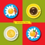Insieme dell'icona dell'alimento Ora di colazione Fotografia Stock Libera da Diritti
