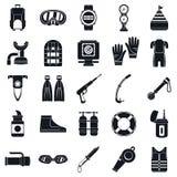 Insieme dell'icona dell'attrezzatura per l'immersione, stile semplice royalty illustrazione gratis