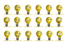 Insieme dell'icona dell'avatar della lampada della lampadina Immagini Stock Libere da Diritti