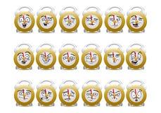 Insieme dell'icona dell'avatar dell'orologio dello scrittorio Immagini Stock