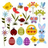 Insieme dell'icona colorata piano per Pasqua Fotografia Stock Libera da Diritti