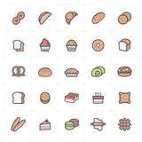 Insieme dell'icona - colore pieno del pane e del forno illustrazione vettoriale