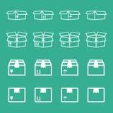 Insieme dell'icona d'imballaggio della scatola Illu semplice di vettore del pacchetto piano di trasporto royalty illustrazione gratis