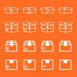 Insieme dell'icona d'imballaggio della scatola Illu semplice di vettore del pacchetto piano di trasporto illustrazione di stock