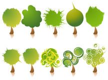Insieme dell'icona degli alberi Illustrazione di Stock