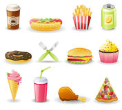 Insieme dell'icona degli alimenti a rapida preparazione. Fotografia Stock