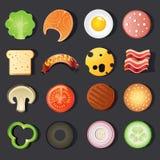 Insieme dell'icona degli alimenti a rapida preparazione illustrazione di stock