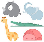 Insieme dell'icona degli animali dello zoo Immagine Stock Libera da Diritti