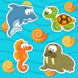 Insieme dell'icona degli animali marini Immagini Stock Libere da Diritti